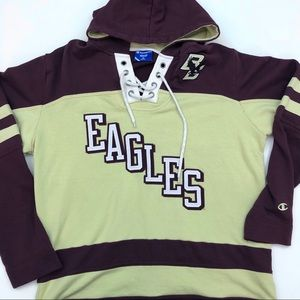 90s Champion Boston College Hooded Sweater Medium